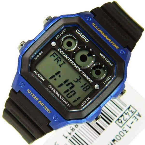 casio digital original hitam biru