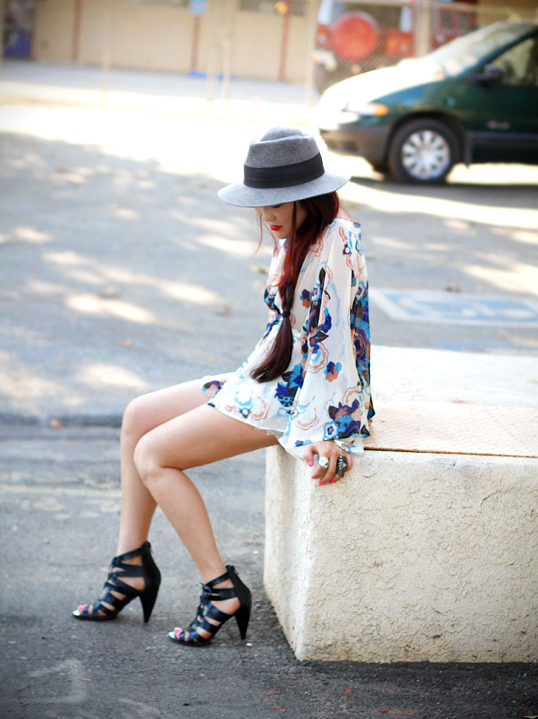floral top &amp; crochet shorts