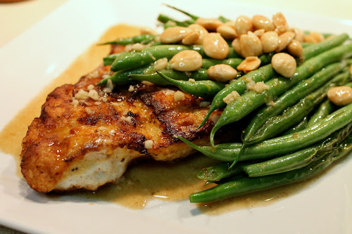 Grouper almondine with green beans and lemon wine sauce