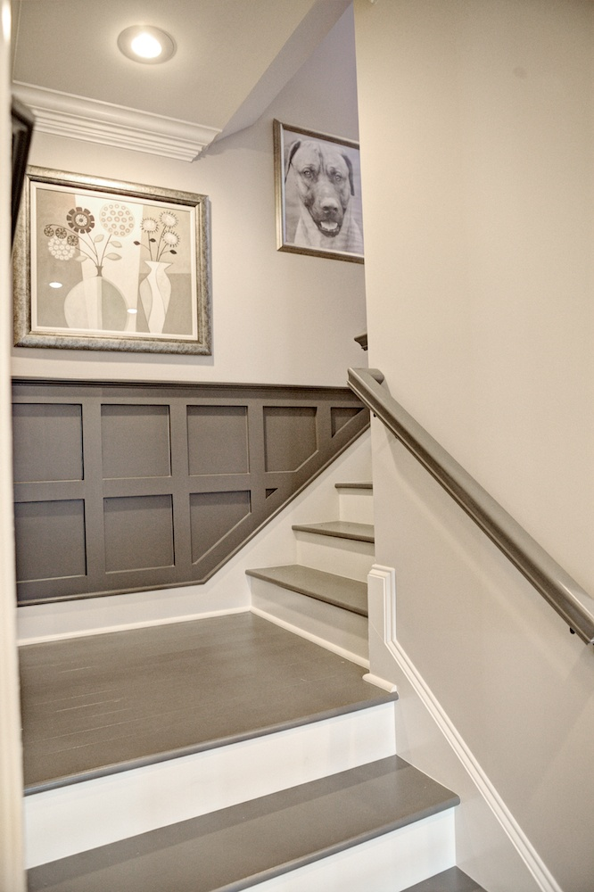Black and white and loved all over before after for Painted stair treads