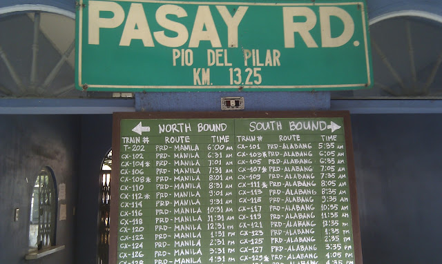 PNR Timetable at Pasay Rd Station: less than one-tenth the utilisation it could be  photo: D Caldwell 110430