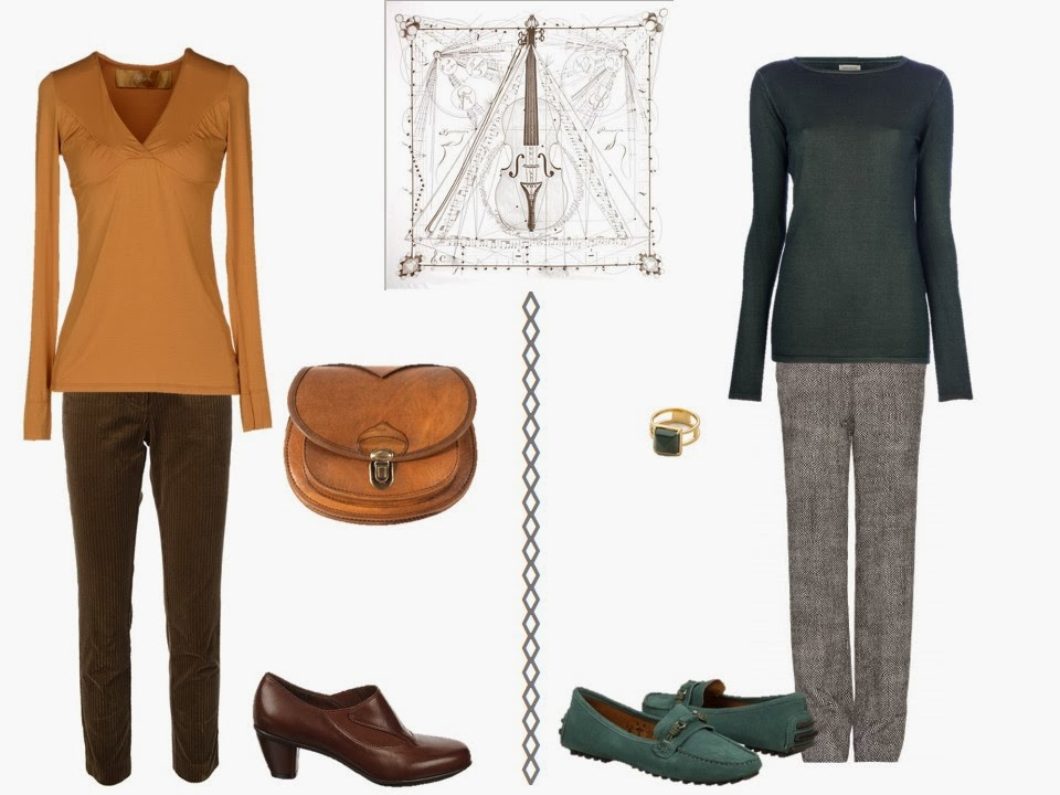 two outfits including gold and green to wear with Hermes Musique des Spheres