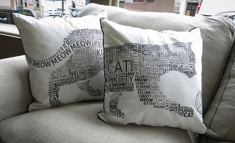 Cat cafe in New York — Cat print pillow