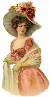 free vintage image Victorian woman in pink dress flowers big hat