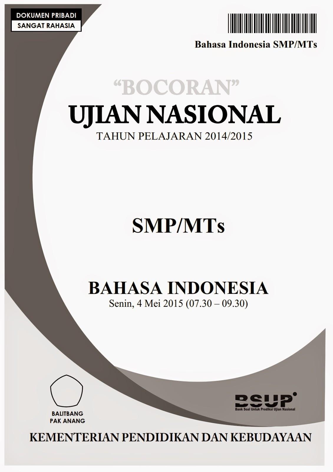 Bocoran Soal Un Bahasa Indonesia Smp 2015