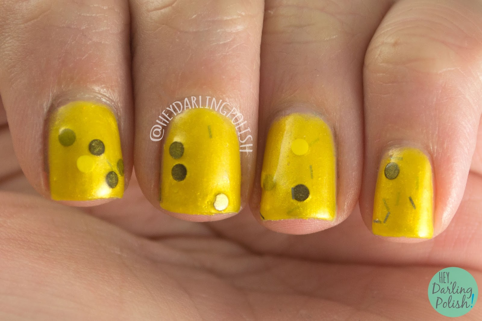 hufflepuff, just and loyal, yellow, nails, nail polish, polish, indie polish, indie, harry potter, fandom cosmetics, swatch, hey darling polish