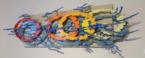 This is a 20% scale maquette for an installation at the Bloomington (Indiana) Transit Center.