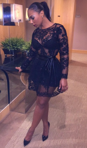 Ashanti Steps Out In Stunning Sheer JD Collection Dress