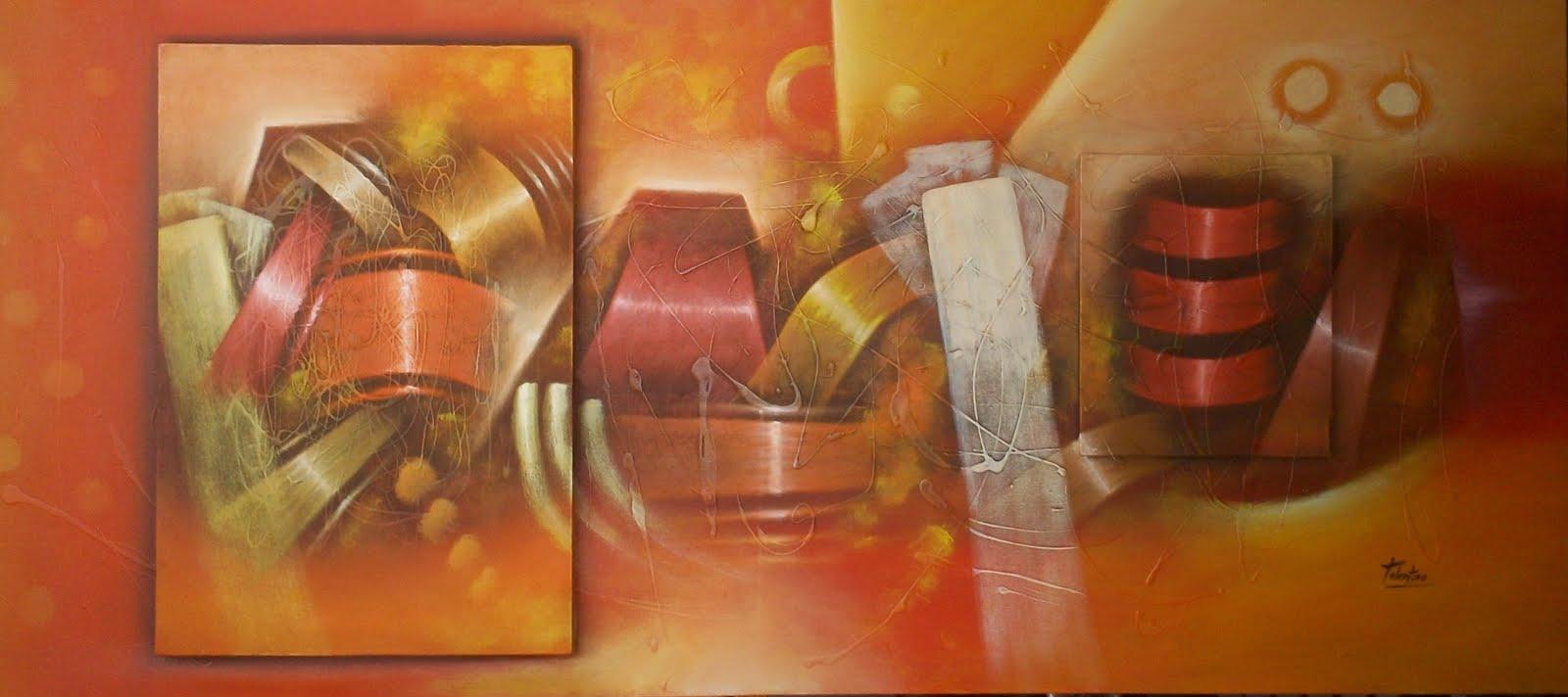 Cuadros decorativos abstractos leos alto relieve modernos for Como hacer cuadros modernos
