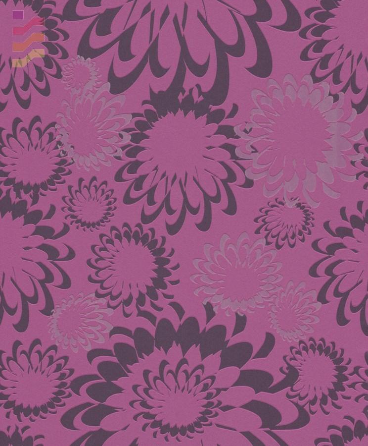 ciemno różowa tapeta w czarne kwiaty