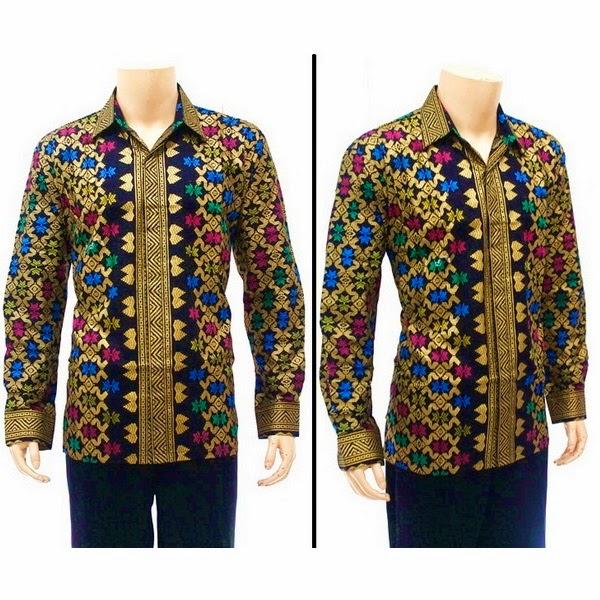 Kemeja Batik Lengan panjang Pria Motif Prada Bali