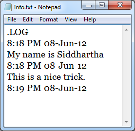 Save a log in Notepad