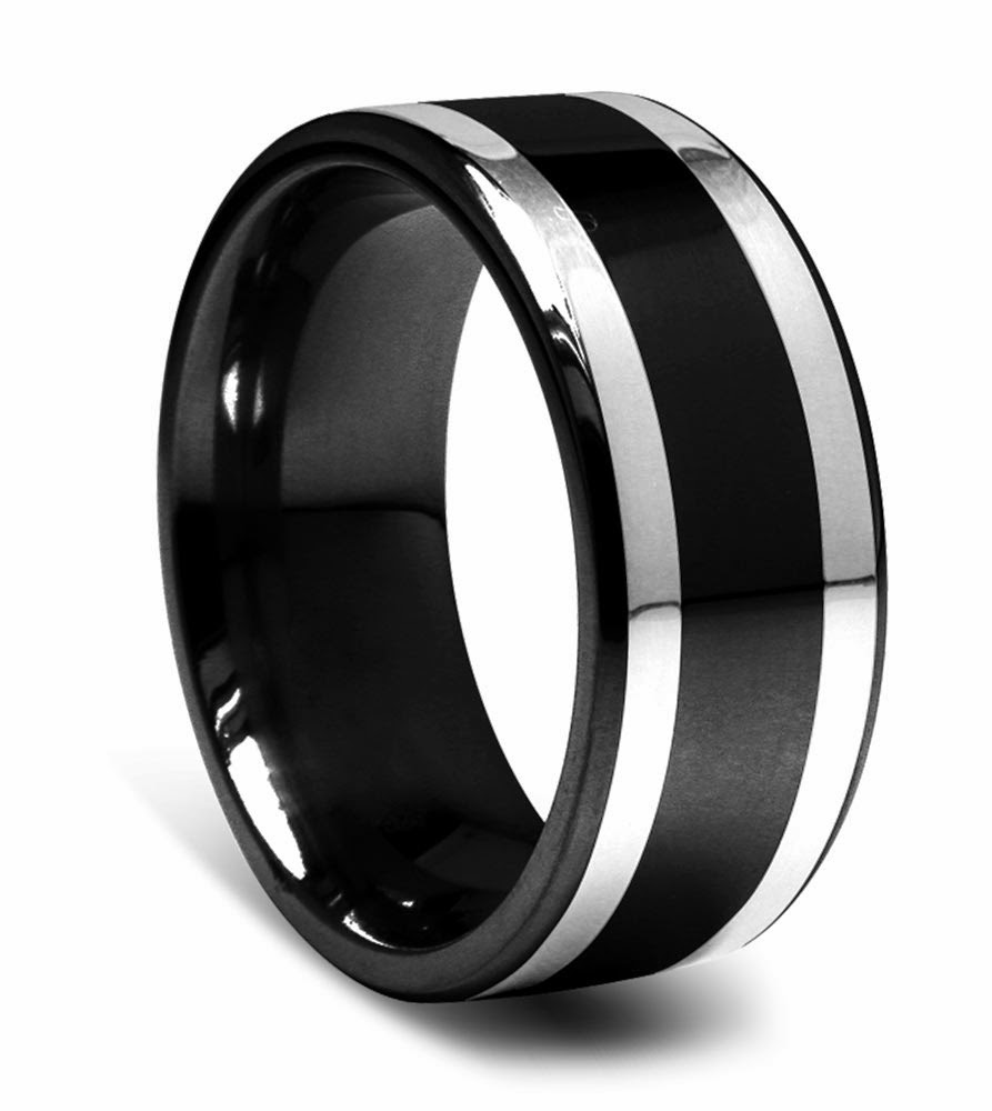 Mens Black Wedding Rings Two Tone Design pictures hd