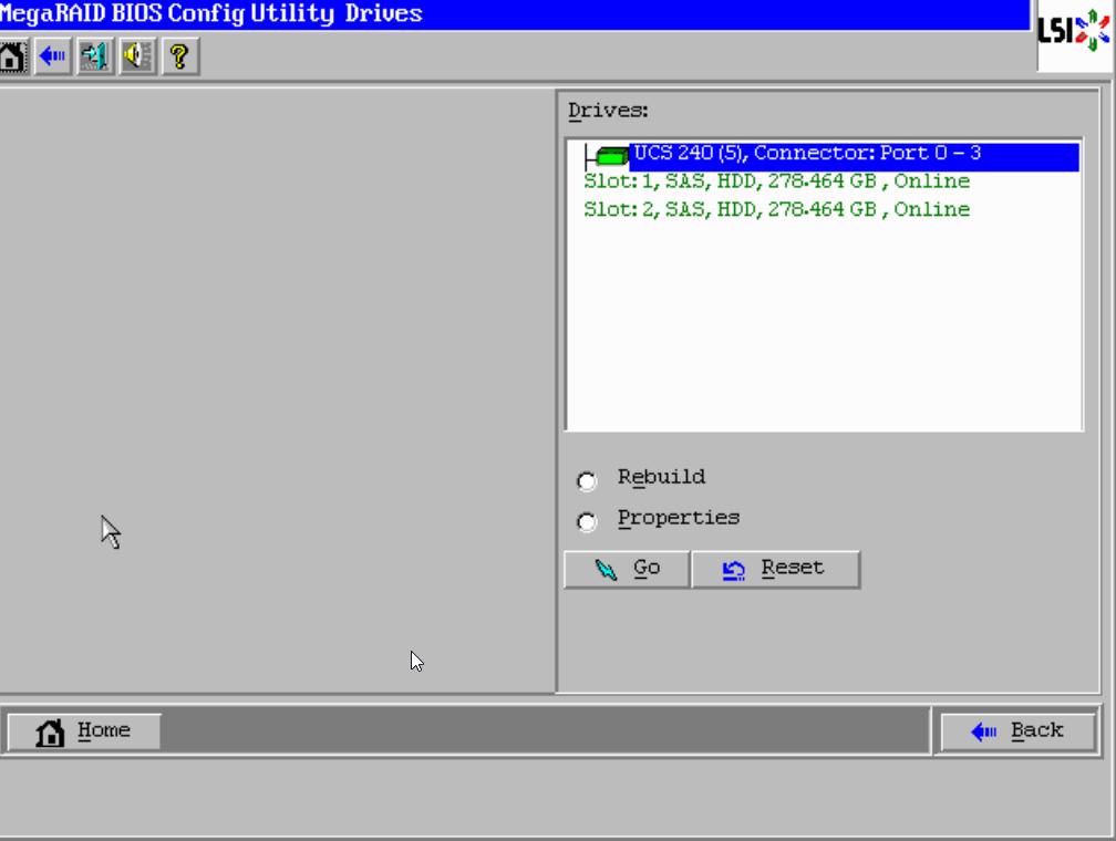 UCS Mega RAID BIOS utility