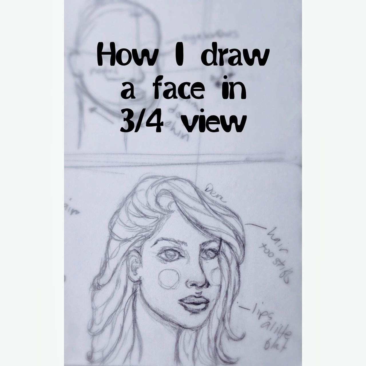 How to draw a face in 3/4 view