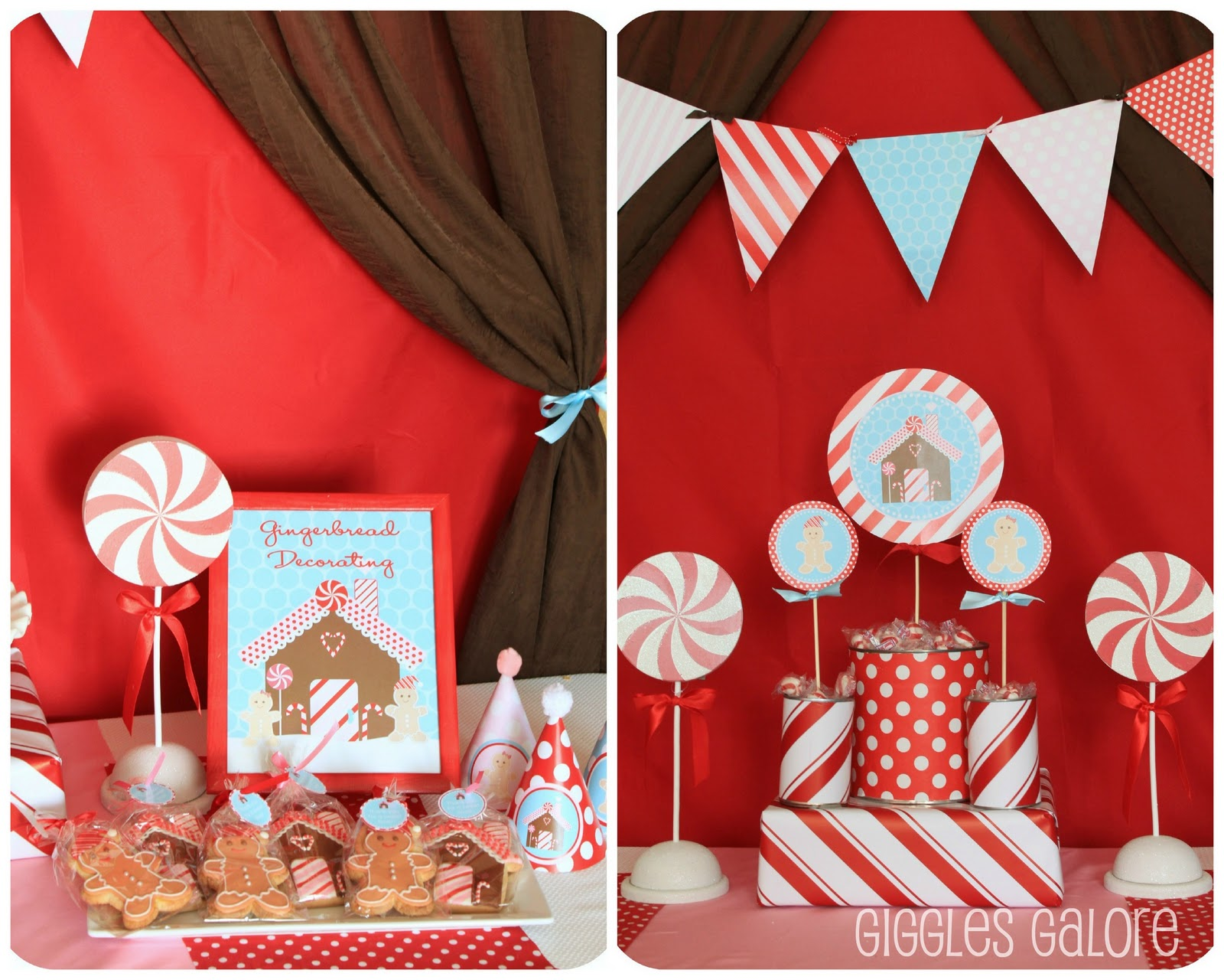 Customer party gingerbread theme dimple prints for Gingerbread decorations
