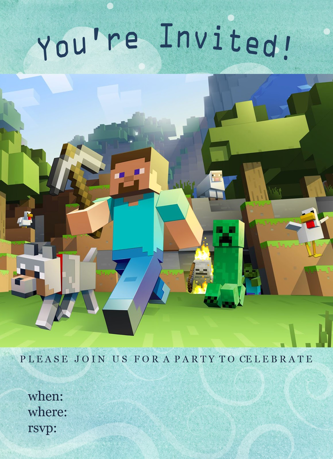 Invaluable image for minecraft birthday invitations printable