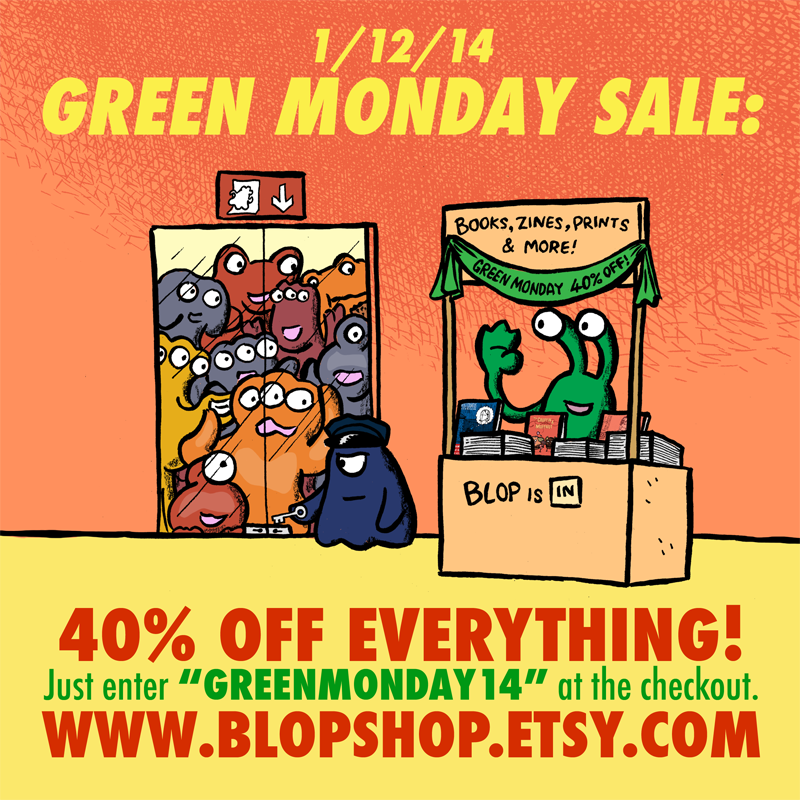 Advert for alex's green monday sale at blopshop.etsy.com