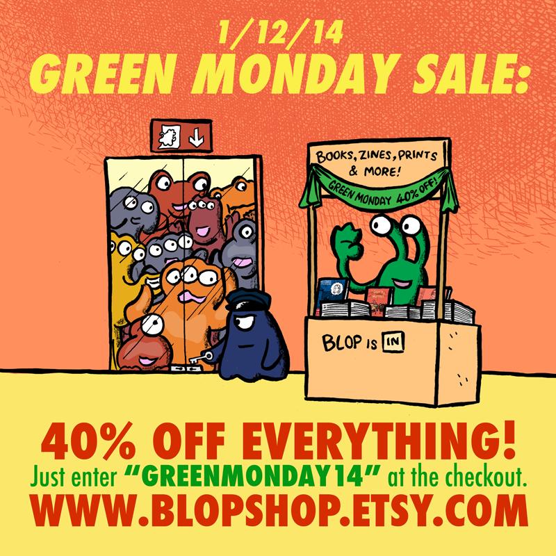Advert for alex's green monday sale at blopshop.etsy.com