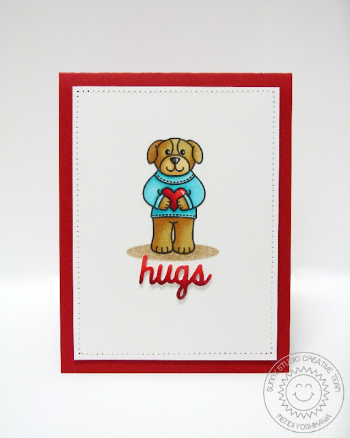 Sunny Studio Stamps: Sending My Love Simple Puppy Dog Hugs Card (with hugs die from Furever Friends)