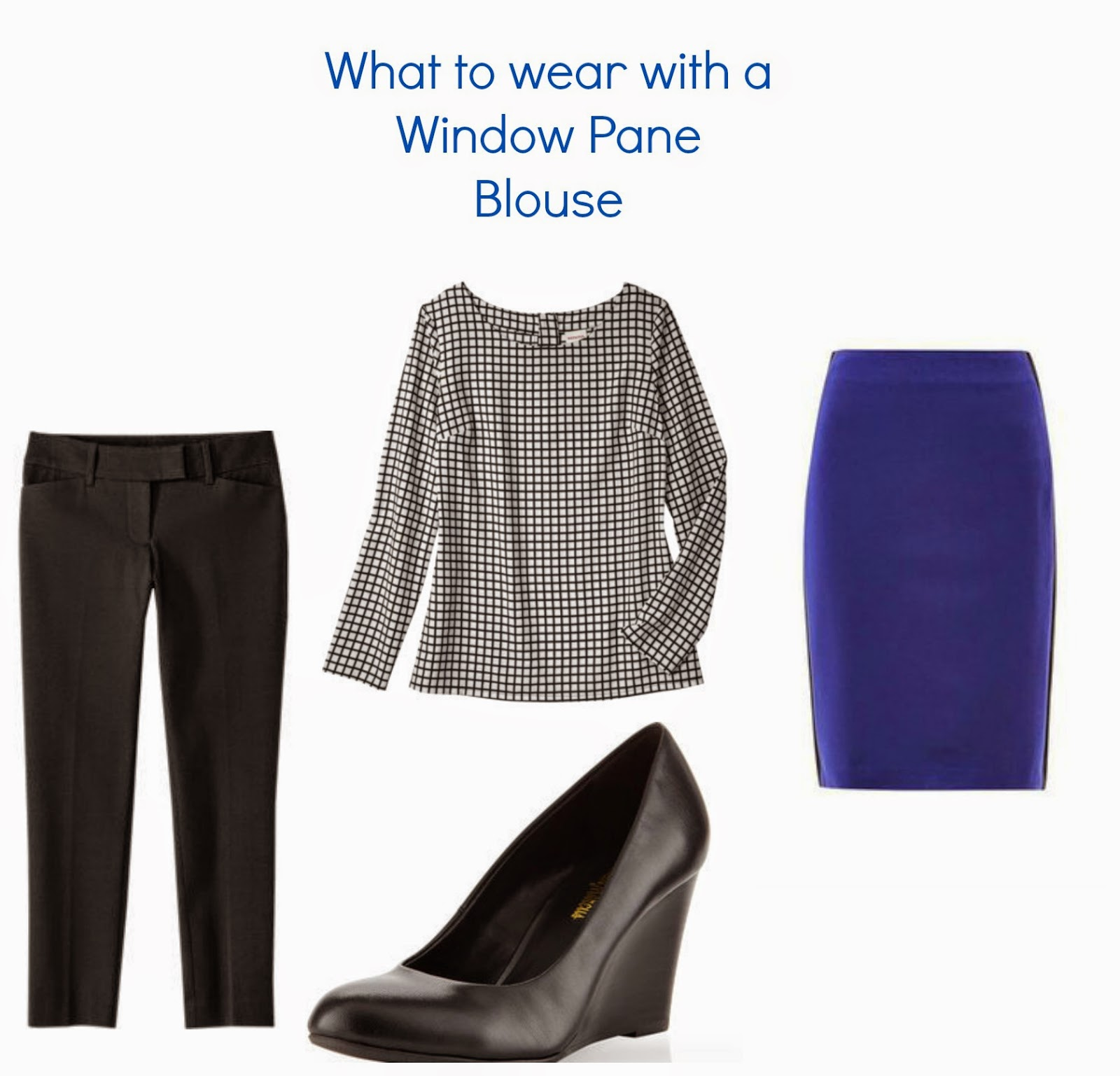 Window pane blouse, Cobalt skirt, black wedge pumps, Target ankle pants