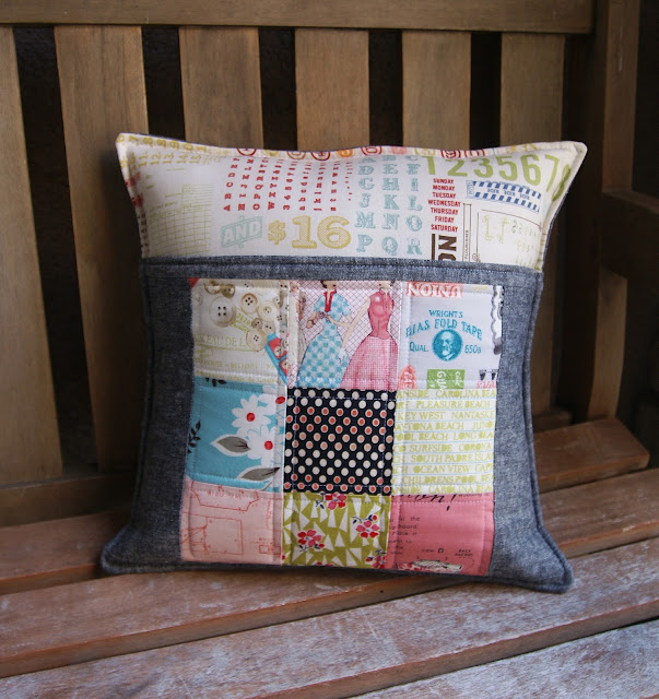 patchwork linen pocket zakka pillow