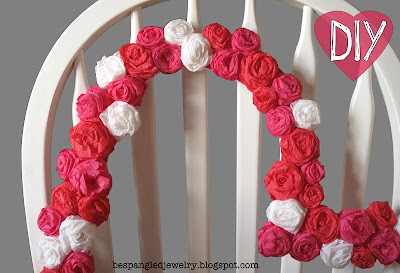 DIY crepe paper rose covered heart frame - photobooth prop tutorial