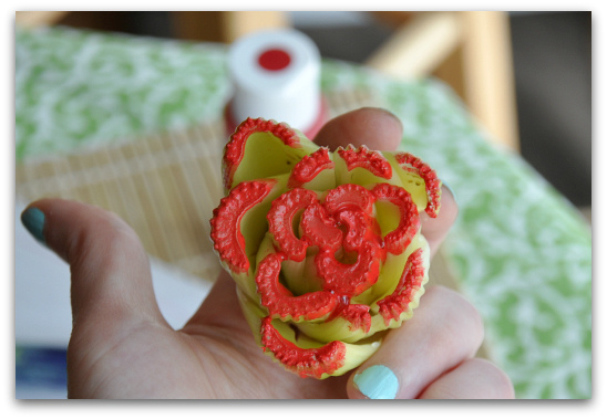 cut celery heart flower stamp