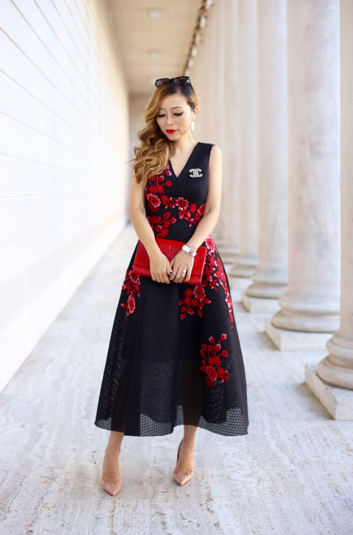 Teri Jon V Neck Dress with Floral Appliques, Saint laurent clutch, kendra scott earrings, Christian Louboutin so kate pumps, fashion blog, nyc blogger, Hermes bracelet, Chanel Brooch, holiday dress, holiday dress shopping