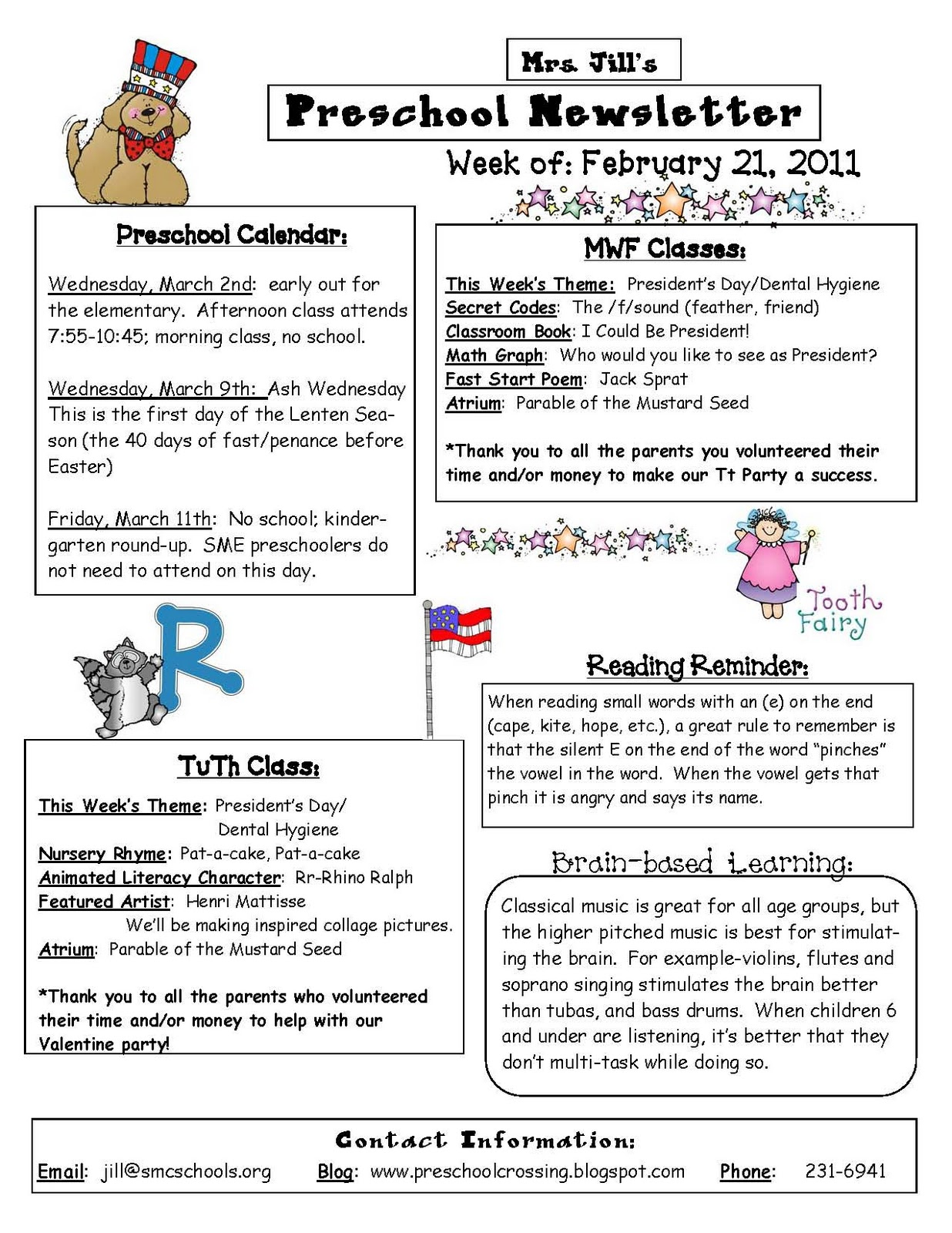 Preschool Crossing: Here is an example of my weekly newsletter