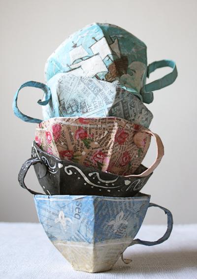 paper ink paper mache teacups