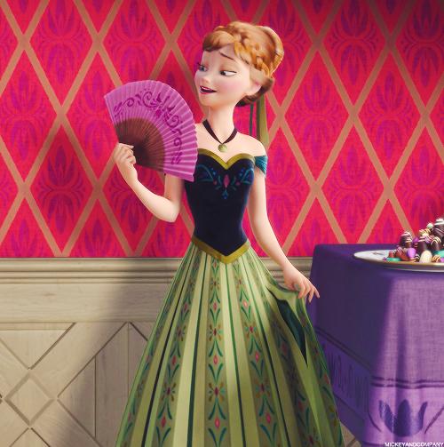 Anna frozen con vestido verde