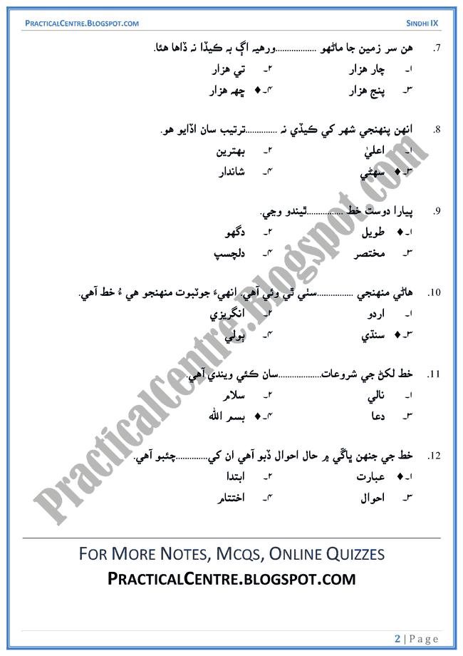 khat-multiple-choice-questions-sindhi-notes-ix