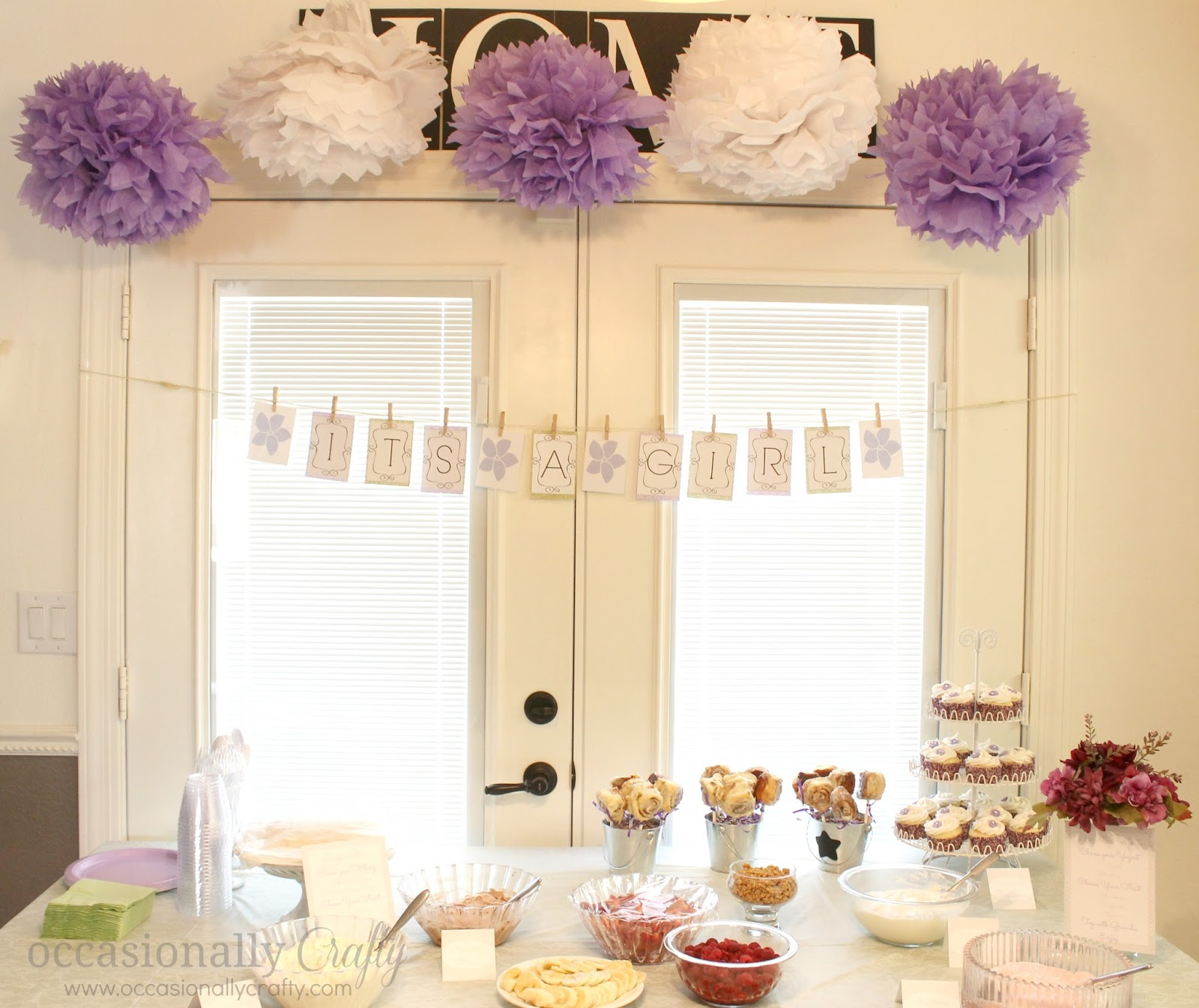 purple and green baby shower decorations. Baby Shower  Purple and Green Occasionally Crafty