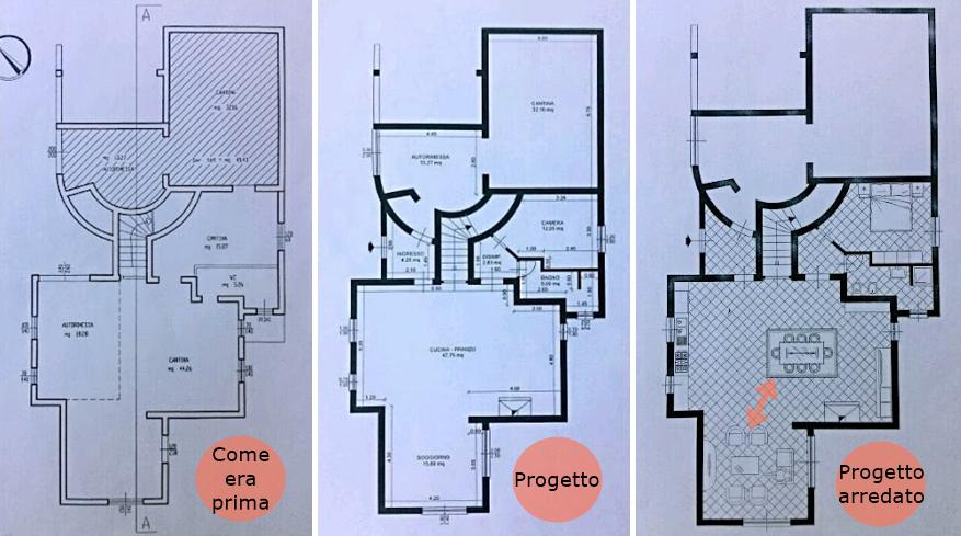 The orange deer da cantina ad appartamento for Planimetrie della casa quadrata