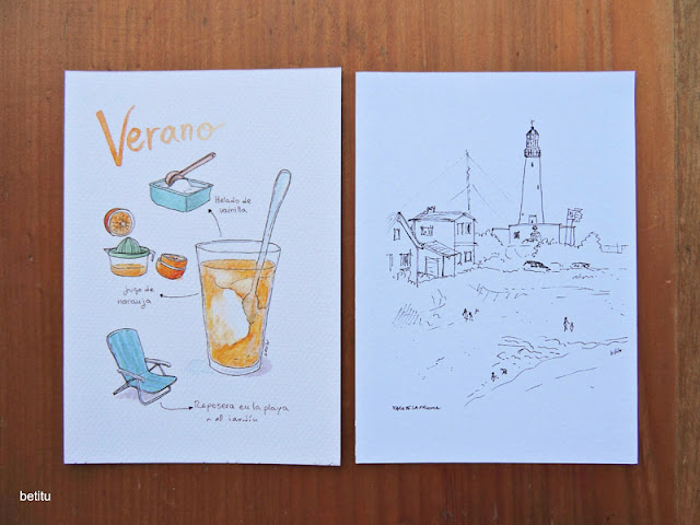 Orange juice with ice cream, Faro la Paloma - Postcards by betitu