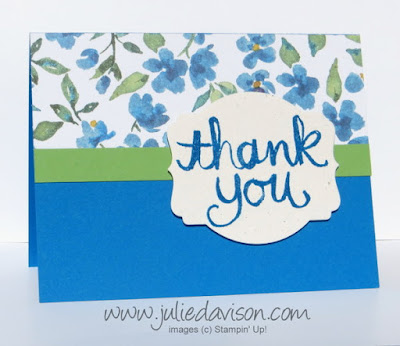 Stampin' Up! Watercolor Thank You + Painted Blooms Thank you Card #stampinup www.juliedavison.com