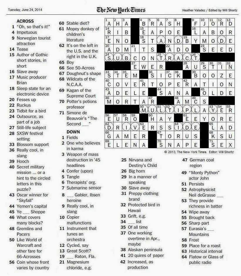 The new york times crossword in gothic june 2014 062414 covert operation spiritdancerdesigns Images