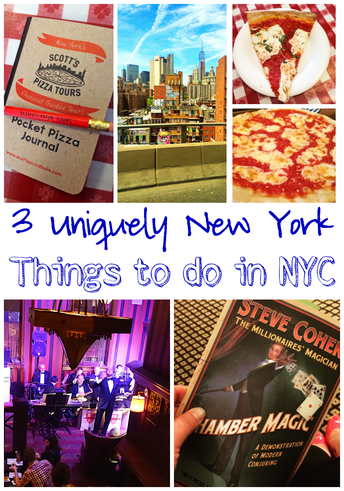 3 Uniquely New York Things to do in NYC - a magic show at the Waldorf-Astoria, a Sinatra tribute band and a pizza tour on a yellow school bus! You MUST do them all on your next trip to NYC!