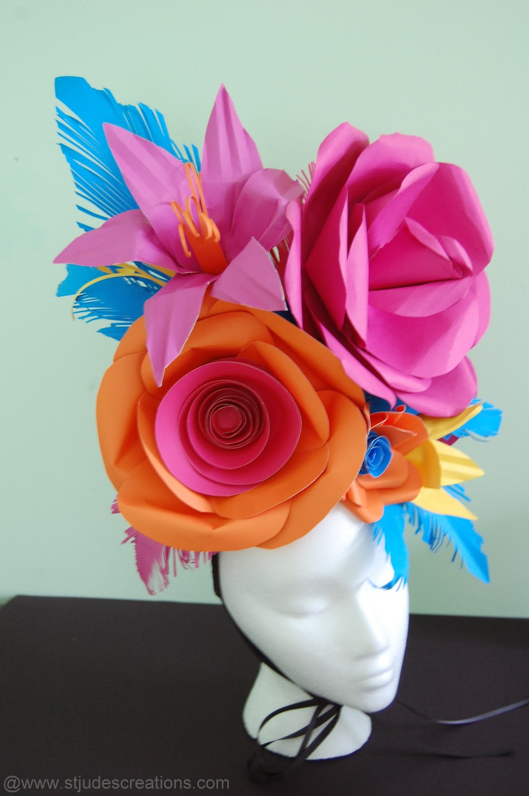 Large Paper Flower Hat Handmade Paper Flowers By Maria Noble