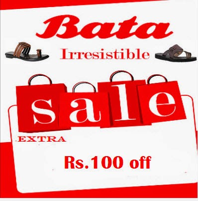 Rediff : Bata footwears Rs. 100 off on Rs. 399, Rs. 150 off on Rs. 599