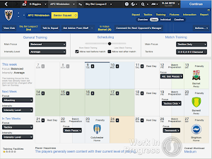 Football Manager 2014 Training Calender