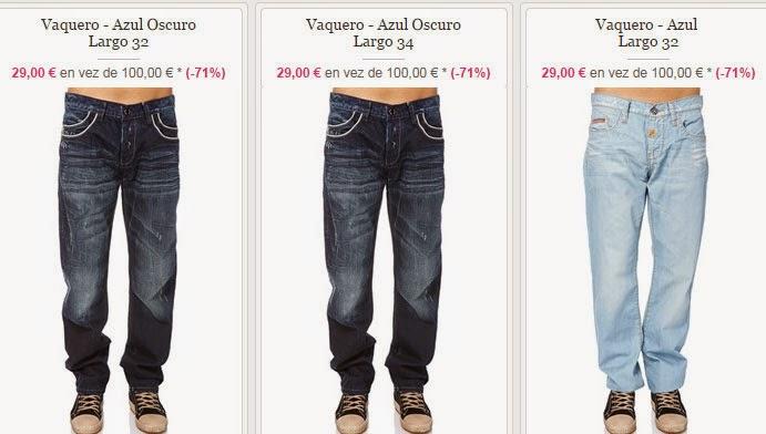 Ejemplos de pantalones vaqueros para chico a la venta a un PVP de 29 euros