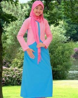 Kaos Muslimah Exora G-003 Biru Saku di Kedua Sisi