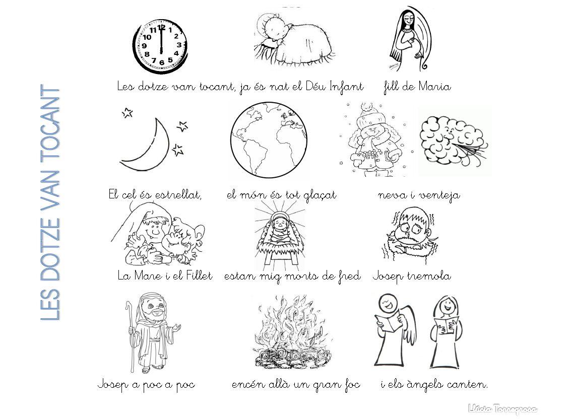 Les dotze van tocant Partitura del Villancico en Clave de Sol. Ficha, letra y musicograma