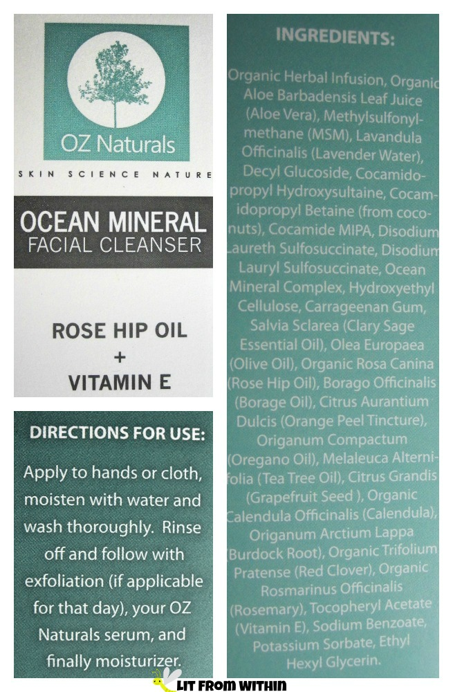 OZ Naturals Ocean Mineral Facial Cleanser ingredients and directions