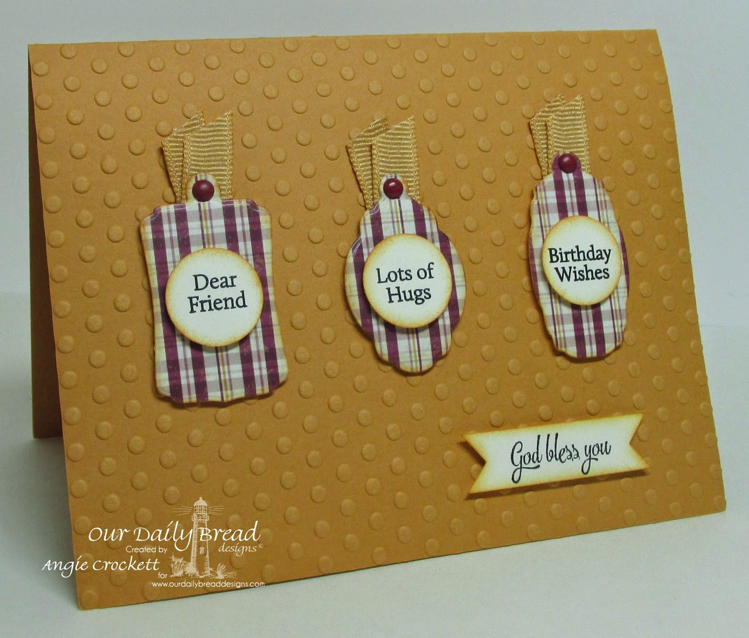 ODBD Mini Tag Sentiments, ODBD Custom Mini Tags Dies, Doily Blessings, Rustic Beauty Paper Collection, Card Designer Angie Crockett