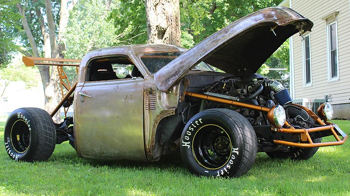 an old pickup was transformed into a rat rod. Black Bedroom Furniture Sets. Home Design Ideas