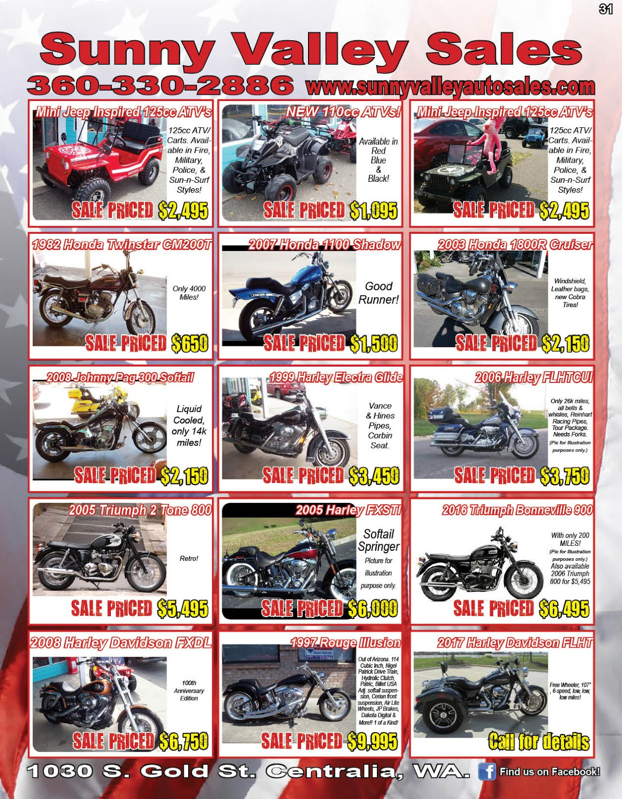 Sunny Valley Sales New Mini Jeep Carts & ATV's,Used Motorcycles & More!!