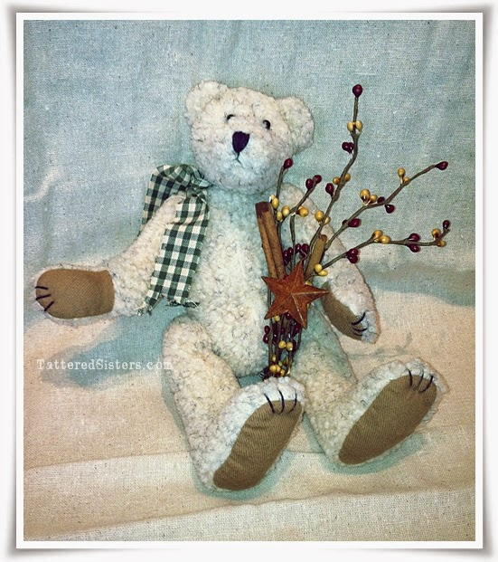 Primitive Teddy Bear with Pip Berries